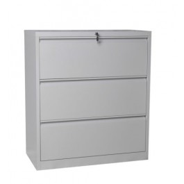Metal 3 Drawer Lateral Filing Cabinet - Silver