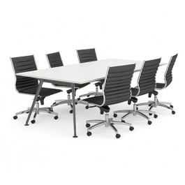 Black Frame Rectangular Shaped Boardroom Table