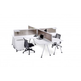 Desk Mounted Office Partition / Screen - Finished in Translucent