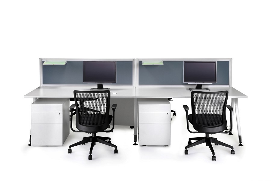 Bon Desk Mounted Office Partition / Screen   Finished In Light Grey