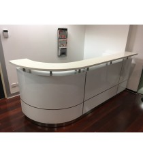 Executive Counter Reception Counter - White 2 pack Gloss