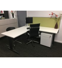 Desk Hung Office Partition / Screen - Finished in Light Grey or Lime Fabric