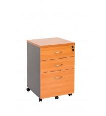 Mobile pedestal 2 drawer + 1 file with lock