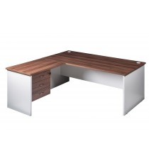 Open Desk, Return, and Fitted Drawers  - Walnut / White