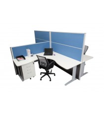 Office Partition / Screen - Finished in Ocean Blue Fabric with Charcoal Base