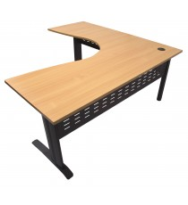Rapid Corner Workstation 1800 x 1800 with Beech Top and Black Metal Frame & Modesty