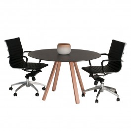Round Meeting Table with Gloss White Legs