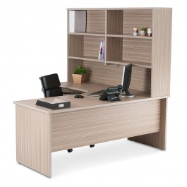 Corner Workstation Office Package - Tawny Linewood