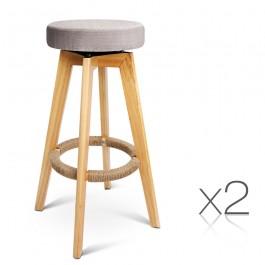 Taupe Swivel Seat Stool x2