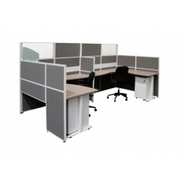 Office Partition / Screen - Finished in Pattern Light Grey and White Aluminum Frame