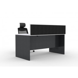 Desk Mounted Office Screen - Finished in Charcoal fabric