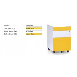 Coloured Metal Mobile pedestal 2 drawer + 1 file with lock 390W