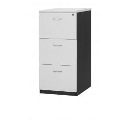 3 Drawer Filing Cabinet - White / Ironstone