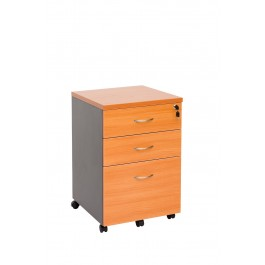 Mobile pedestal 2 drawer + 1 file with lock
