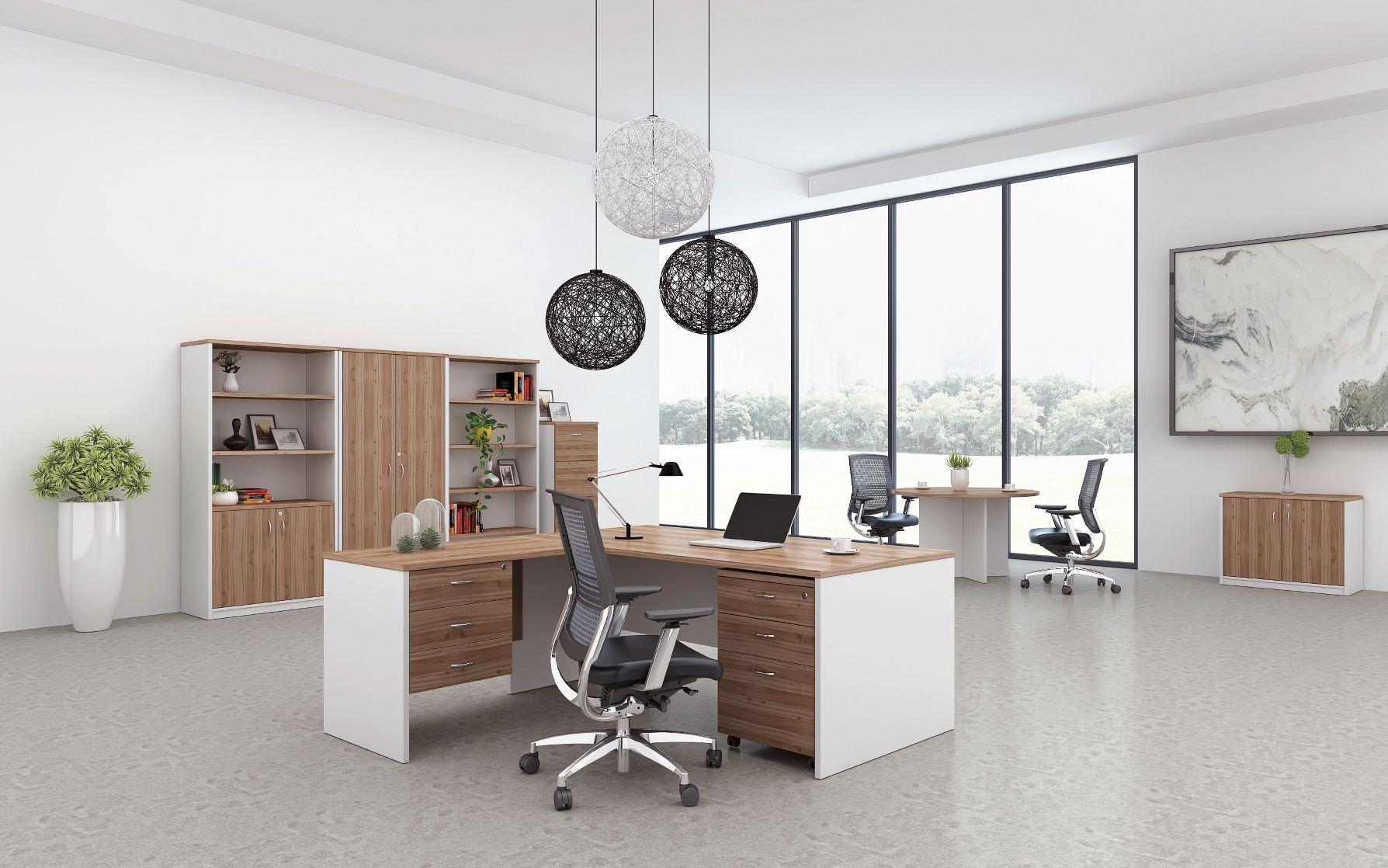 incredible white office desk furniture   Open Desk 1800L - Walnut / White