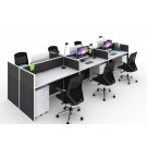 Office Partition / Screen - Finished in Charcoal Fabric with White Aluminium Frame