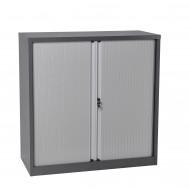 CLEARANCE Half Height Metal Tambour Door Storage - Graphite Ripple