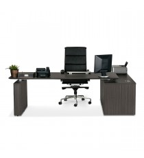E1 Executive Desk - Black Linewood