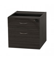 Fitted Pedestal 1 Drawers + File for Under Desk with Lock - Blackened Linewood