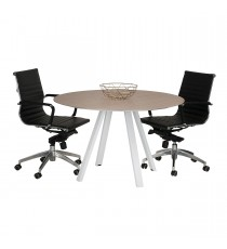 Round Meeting Table with Natural Timber Legs