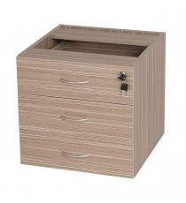 Fitted Pedestal 3 Drawers with lock for Under Desk - Tawny Linewood