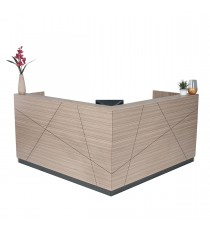 Axis Reception Counter / Reception Desk - Tawny Linewood