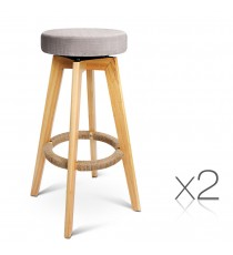 Taupe Swivel Seat Stool x2