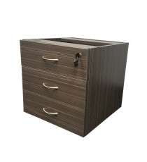Fitted Pedestal 3 Drawers for Under Desk with Lock - Blackened Linewood