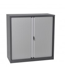 CLEARANCE Half Height Metal Tambour Door Storage - Graphite Ripple