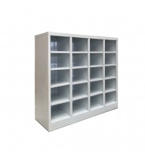 Metal Pigeon Hole Shelving Unit with 20 Holes - White