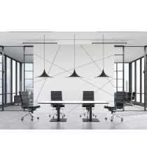 Scope Black Frame Boat Shaped Boardroom Table