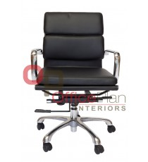 Padded Eames Replica Boardroom / Visitor Chair - Medium Back Leather