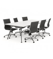 Black Frame Rectangular Shaped Boardroom Table