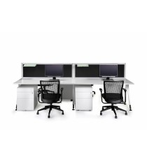 Desk Mounted Office Partition / Screen - Finished in Black Fabric