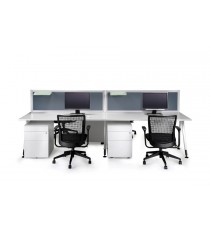 Desk Mounted Office Partition / Screen - Finished in Light Grey